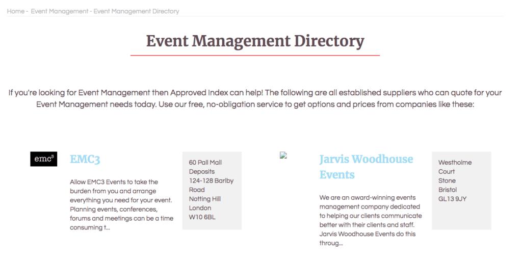Domande da fare a un organizzatore di eventi: Approved Index.