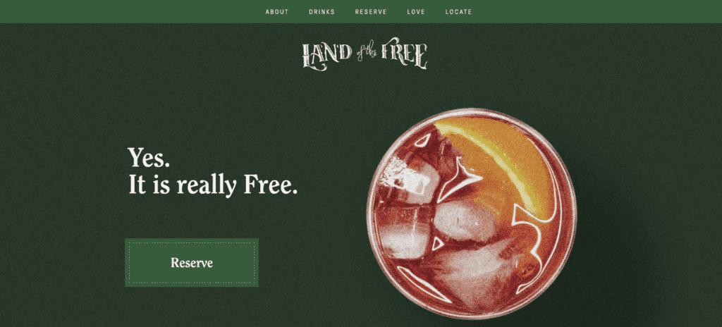 Land of the Free ha un sito tanto semplice quanto efficace.